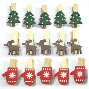 Clip de Noël en bois de bande dessinée Mini Elk Reindeer Gants Forme Pince Resuable Eco Friendly Mémo DIY Clips Usine Directe Titulaire Photo WX9-1158