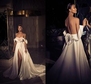Elihav Sasson Country Wedding Dresses A Line V Neck Off The Shoulder Side Split Vestidos De Novia Satin Sweep Train Bridal Gowns
