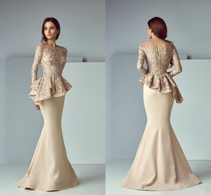 Champagne Lace Stain Peplum Long Evening Formal Wear Dresses 2020 jewel Neck Long Sleeve Dubai Arabic Mermaid Prom Dress Saiid Kobeisy