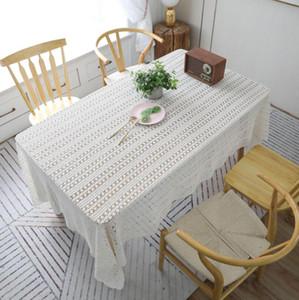 New Sen cobertura crochet rural tabela toalha toalha de algodão pano adereços filmagem de toalha tecida perfurada toalha de renda borla de piano toalha