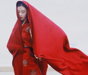 Сплошной Цвет Женщин Шарф Леди Шарфы Обернуть Зима Женщины Шарф Теплый Кашемировый Шаль Одеяло Длинные Огромные Женщины Обернуть