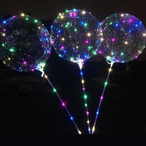 Bobo Balloon LED parpadeando y 70 cm Poste 3M String Balloon Transparente Luminoso Iluminación para los globos para el cumpleaños Festival de boda Fiesta Deco