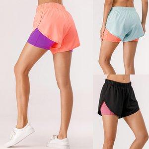 Women Summer 2 in 1 Sports Shorts Quick Dry Phone Pocket Elastic Waist Drawstring Running Gym Fitness Shorts Sportswear