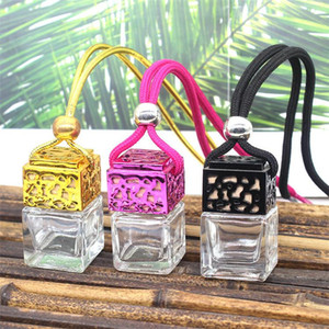 New Cube Hollow Car Perfume Bottle Rearview Ornament Hanging Air Freshener For Essential Oils Diffuser Fragrance Empty Glass Bottle Pendant