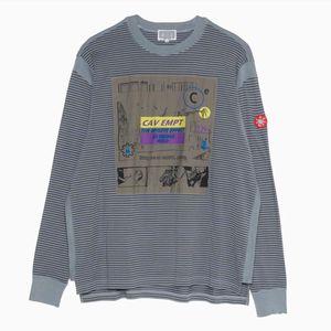 camisa C.E Cav Empt t Men Loose Women Casual emenda Long Sleeve Stripe patch bordado a melhor qualidade Streetwear CAVEMPT camisetas T200224