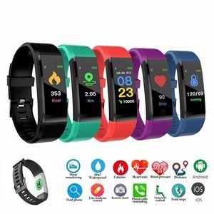 ID 115 plus intelligent Bracelet pour écran Fitness Tracker Montre Podomètre Compteur de fréquence cardiaque Tensiomètre intelligent Wristband