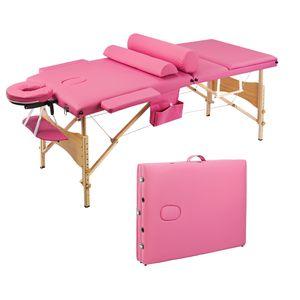 Waco Salon Portátil Masaje Spa Cama, 3 Secciones Doblando Tubo de Aluminio Reposacabezas Ajustable, Belleza Facial Cuerpo Cuerpo Mesa Rosa