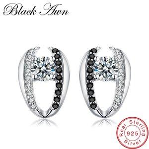 [Black AWN] 100% echte 925 Sterling Silber Schmuck schwarz Spinell Stein niedlich Engagement Ohrstecker für Frauen T072 Y190125