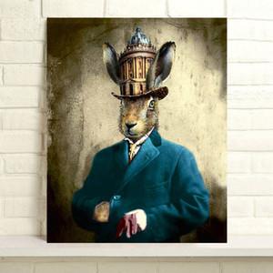 Handbemalte Thierry Poncelet Ölgemälde Hauptdekor-Wand-Kunst auf Leinwand Steampunk Hase 24x30inch Unframed