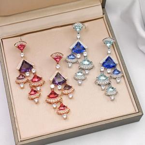 Europe America Hot Sale Fashion Lady Women Brass 18K Gold Plated Tassels Setting Diamond Colored Zircons Crystal Stud Earrings