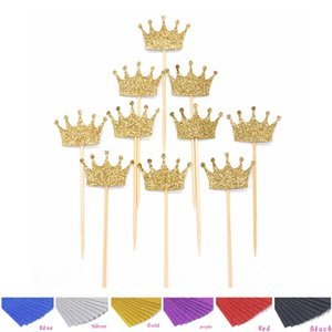 20pcs lot Princess Crown Gold Giltter Cake Topper 1st Birthday Decoration Kids Baby Boy Girl Party Decoration Cupcake Toppers