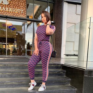 Women Designer 2 piece Set Short Sleeve Suits pants tracksuits print T-shirt+pants Jogging Suit Tee Tops summer clothing 2761