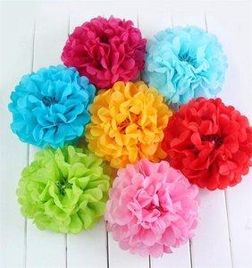 30PCS 6 8 10in DIY Mezcla de papel de seda Color Pompon Poms Flor Bolas de papel Decoración de la boda Papel Manualidades Suministros para fiestas
