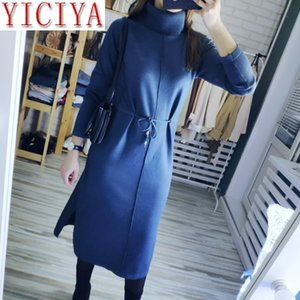 2020 dresses spring Women Long sleeve Knit Maxi Dress Vertical Stripe Straight Dress Turtleneck Pullover Midi Drawsting