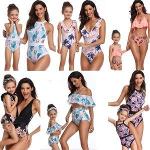 39 أنماط الأزياء الساخن بيع الأم ابنة ملابس بيكيني ملابس الشاطئ النساء فتاة الكشكشة زهرة منقوشة طباعة بيكيني مجموعات