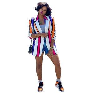 Autunno delle donne di colore di contrasto Blazers barrato stampato Designer risvolto collo donne cappotto casual Abbigliamento Donna