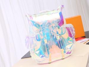 Bolsos de hombro del diseñador de los hombres del arco iris láser flash de PVC transparente Mochila bolsa de lona en color brillante mochilas viaje del equipaje bolso crossbody