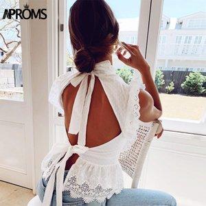 Aproms elegante camisa de encaje Emboridery blusa sin mangas atractivo de las mujeres blanca del verano riza espalda abierta Pajarita Top 2020