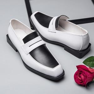 حقيقية رجال الأعمال أحذية جلدية مختلط الألوان البريطانية Mocassin أوم مصمم بدلة رسمية أحذية مكتب الزفاف تو مربع