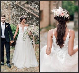 2020 blanc Tulle Une ligne col en V de mariage Robes de plage dentelle appliques de perles Robes de mariée Afrique du Sud paolo sebastian