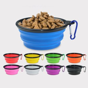 13oz Universal Silicone TPE Travel Collapsible Pet Training Dog Cat Feeding Bowl Water Dish Feeder Bowl With Carabiner
