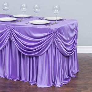 6 أقدام. الستارة الشيفون ALL-IN-1 مفرش المائدة / مطوي تنورة بيضاء ICE حرير TABLE SKIRT FOR BANQUET حفل زفاف
