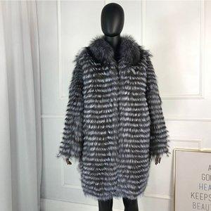 CNEGOVIK Женских горячие серебряные натуральные длинные пальто реальной лисица пальто плюс размер Y190925