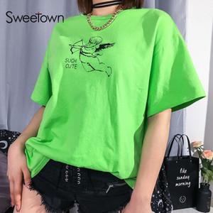Sweetown 캐주얼 느슨한 여자 대형 T 셔츠 귀여운 큐피드 천사 그래픽 티 셔츠 팜므 녹색 유행 높은 거리 한국 Tshirt Y19072001