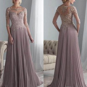 Gelin Elbise Of Şık Mürettebat Boyun Dantel Uzun Anneler Elbiseler 2020 Şeffaf 1/2 Uzun Kollu Şifon Pileli Wedding Guest Artı boyutu Anne