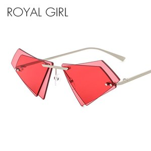 wholesale Unique Rimless Sunglasses Women Men Small Triangle Red Yellow Pink Sun Glasses Candy Colors Double Lens Shades ss005