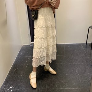 Long Lace Skirt Ladies Skirt Women 2020 Korean Elegant Crochet A-line Elastic High Waist Skirt Maxi Skirts Clothes