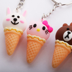 Creative Cartoon Animal Ice Cream Keychain Cute Unicorn Sweet Cone Bag Pendant Gift Cute Cartoon Souvenirs Valentine's Day gifts