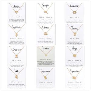 Nouveau 12 constellation colliers avec carte-cadeau blanc signe du zodiaque pendentif chaînes en or pour hommes femmes mode bijoux en vrac