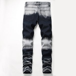 Mens Straight Slim Fit Biker Jeans With Zip Clothing Distressed Hole Streetwear Style Luxury Ripped Patchwork ColorJeans For Men
