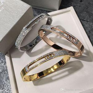 French Gift Brand Jewelry 316L Stainless Steel Mess Fashion Bracelet Bangle for Men Women Shinning CZ Stone Setting Lover's Bracelet