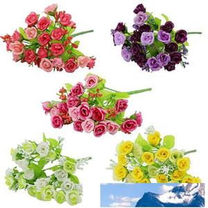 Atacado- 1 Bouquet 21 Chefe Artifical Falso Rose capina partido Home Decor Silk Flower 7JWU