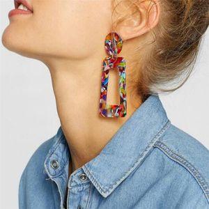 새로운 보헤미안 스타일 아세테이트 기하학적 직사각형 드롭 귀걸이 여성용 패션 레진 아크릴 불규칙 매달아 귀걸이 믹스 컬러 LX