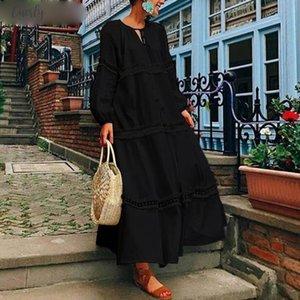 Women Maxi Long Dress 2020 Vonda Autumn Lantern Sleeve V Neck Hollow Out Party Dresses Casual Plus Size Vestidos
