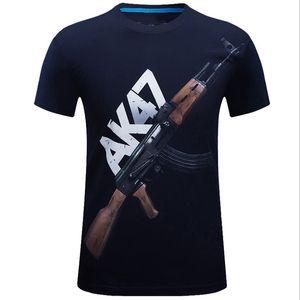 E-BAIHUI homens verão original 3D manga curta europeus e americanos tamanho grande moda masculina T-shirt AK47 T-shirt T-003