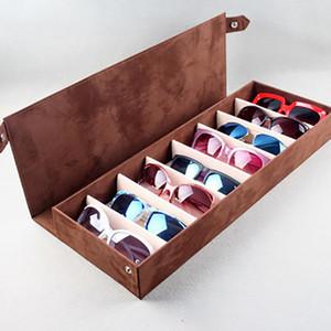 Caja de vidrios de alta calidad 8 Ranura Gafas reticulares gafas de sol de los vidrios del sostenedor del estante organizador Cuadro rectangular