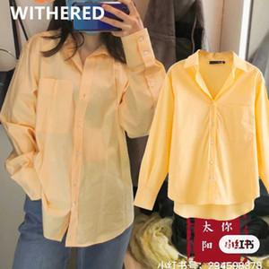 Женские блузки рубашки соберенные модные блоггеры старинные негабаритные карманы хлопчатобумажные женщины Blusas Mujer de Moda 2021 кимоно женские женские