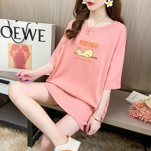 2020 summer trend net red mid-long loose loose lazy short-sleeved t-shirt female foreign cartoon cotton shirt