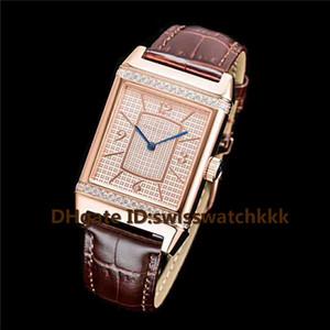 2019 Новый Q2788520 мужские часы Swiss Automatic 21600 vph сапфировое стекло полный бриллиант 18K розовое золото корпус коричневый ремешок из телячьей кожи мужские часы