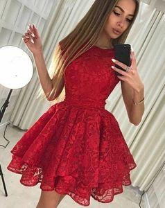 2019 red Lace A-Line Homecoming Dresses Applique Short Prom Cocktail Party Dresses Plus Size girl Special Occasion Dresses Vestidos De Festa