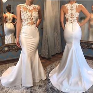 Elegant O-neck Satin Mermaid Wedding Dresses Appliques Button Back Chapel Train Custom Made Bridal Wedding Gowns