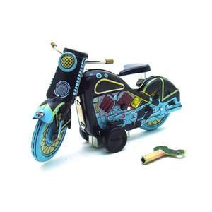 NB desenhos animados Tinplate Motorcycle Wind-up Toy, Retro Toy Clockwork, ornamento, Nostalgic Estilo, Kid presente de Natal aniversário, Coleção, MS365