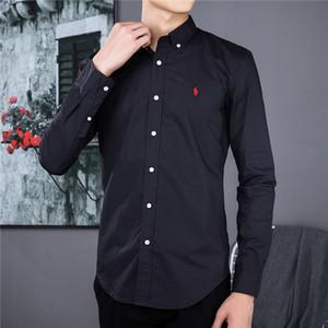 Европейские и американских мужчины Марка бизнес вскользь Престижный тонкий хлопок социальный рубашка с длинным рукавом Дизайн пони стандартной рубашки-поло