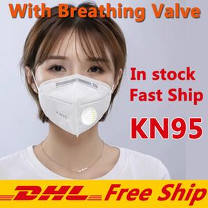Máscaras nave libre de DHL KN95 cara con máscara de respiración de la válvula desechable Tela a prueba de polvo a prueba de viento del respirador anti-niebla a prueba de polvo al aire libre