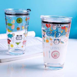 Caneca New 15 onças escala de vidro de aveia dos desenhos animados impressão de beber copos de água copo de leite Pequeno-almoço Cup grande capacidade resistente ao calor vidro canecas DBC BH2731
