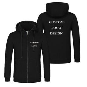 Autumn Winter Custom Design Men & Women Hooded Jacket Korea Style DIY Printing Zipper Coat Unisex Outdoor Jackets Y200706